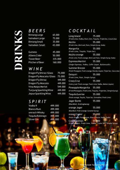 menu akaya rooftop bar